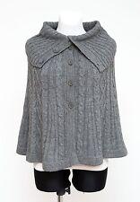 Damen h&m Poncho Cape Alpaka Wolle Zopfmuster Pullover grau Größe XS XSmall EXC