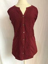 Womens Blouse Deep Scarlet Sz XL Lace Front Button Sleeves