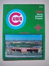 Chicago Cubs 1983 Spring Training Program Cleveland Indians