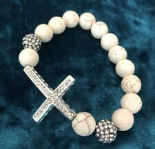 Fashion Crystal Rhinestone Cross White Marble Beads Bracelet for Women Girl
