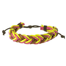 Braided Men's Surf Bracelet In Yellow, Pink & Brown Leather & Cord
