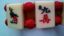 "MahJong Chinese Game Tiles (Yak Bone) Bracelet Cinnabar Beads Asia 8"" Expands FS"