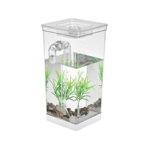 Self Cleaning Small Fish Tank Bowl Convenient Acrylic Desk Aquarium for Office