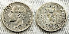 ALFONSO XII 50 CENTIMOS 1880*8-0 MADRID XF-/EBC- SILVER/PLATA
