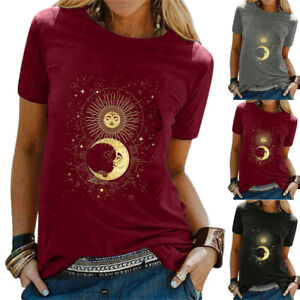 Womens Sun & Moon Print Tops T-Shirt Ladies Hippie Casual Short Sleeve Blouse UK