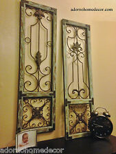 Distressed Metal Wood Wall Panel Set Antique Vintage Rustic Chic Unique Decor