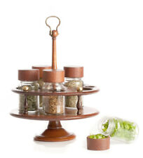 Antique Georgian Mahogany Spice/Herb Carousel/Caddy/Rack With Later Glass Jars