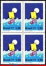 1518 BRAZIL 1977 STAMP DAY, PHILATELY, SHIPS BOATS, MI# 1609 RHM C-997 BLOCK MNH