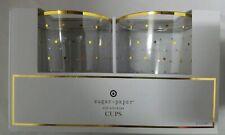 Set of 2 Sugar Paper Los Angeles Plastic Gold Rim Wine Glasses Cups w/ Polkadots