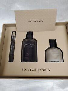 New Bottega Veneta Pour Homme 3oz EDT, 0.33oz EDT, 3.4oz Shave Balm Gift Set