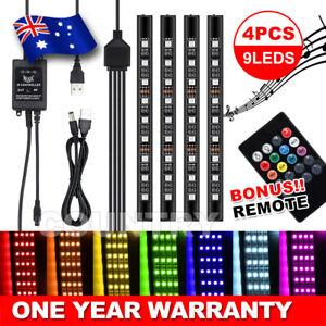 4X 9LED RGB Car Interior LED Strip Lights Wireless Remote Control Music 12V AU