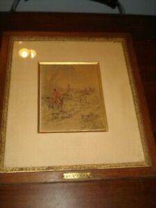 Dessin aquarellé , vénerie Charles Olivier de Penne.