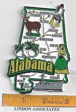 ALABAMA  STATE  MAP  JUMBO MAGNET   7 COLOR   MONTGOMERY  TUSCALOOSA  MOBILE