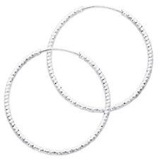 """14K White Gold 1mm Thickness Small Diamond-cut Endless Hoop Earrings 20mm 3/4"""""""