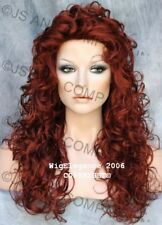 Full Long Curly Wig Teased top Copper Red Hairpiece TRCA 130 NWT