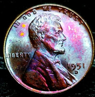 "1951-D Lincoln Wheat Penny Cent- ""Beautifully Toned"" SUPERB MS++ GEM++ BU++ 03"