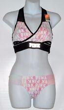 Victoria's Secret Pink Ultimate Racerback Wrap Logo Sport Bra M & Thong Panty M