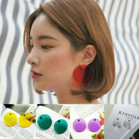 Candy Color Transparent Big Geometric Round Acrylic Stud Earrings Jewelry Gift