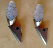 "2x Wandlampe (E14/230V) Glasschirm blau satiniert / Sockel in ""Edelstahl""-Optik"