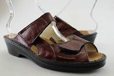 FINN COMFORT 9 US (6 1/2 UK), womens burgandy-leather sandals, S-W-44