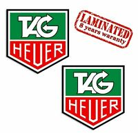 2 PVC Vinyl Decal Stickers Tag Heuer Chronograph Logo Rally Auto Car Helmet Moto