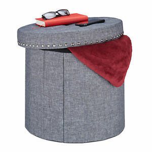 Storage Ottoman, Padded Footstool, Round Toy Chest and Seat in One