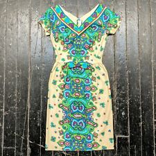 VTG 1960s JEANNETTE ALEXANDER Colorful Mod Paisley Floral Fitted Sheath Dress