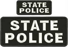 State Police Embroidery Patch 4x10& 2x5 Hook on Back Blk/gray