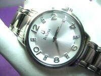 BULOVA 96P111 LADIES DRESS WATCH S/S CASE & SILVER DIAL 12 REAL DIAMONDS ANALOG