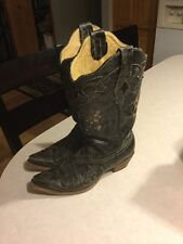 Corral Black Lizard Inlay Women's Cowboy Boots, Size 9, Preowned