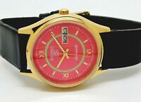 SEIKO 5 AUTOMATIC MEN,S GOLD PLATED  PINK DIAL VINTAGE JAPAN WATCH RUN ORDER