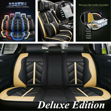 Luxury Breathable PU leather 5 Seat Car Universal Full Seat Covers Black&Beige