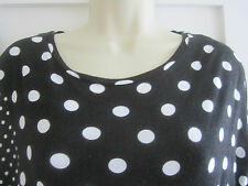 Ladies Size 8 George black white spotted top