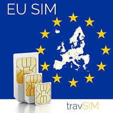 EU SIM Karte für Europa (31 EU Länder) 1GB & 200 Min/SMS (Standard/Micro/Nano)