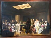 """Louis Leopold Boilly """"Game of Billiards"""" Oil Painting Canvas 35 x 22 Pool Table"""