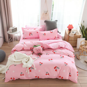 Cartoon Cherry Cotton Duvet Cover Bedding Set With Pillowcase Single Queen King