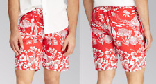 $75 Polo Ralph Lauren Coral Print Cargo Swim Trunks, Red, 3XB