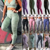 Sexy Women Seamless Yoga Leggings High Waist Push Up Running Fitness Camo Pants