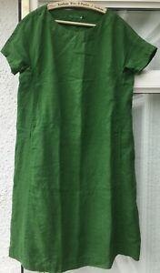 Stunning Seasalt Primary Cap Sleeve Linen Dress In Green Size 10