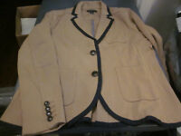 NEW LANDS END LONG SLEEVE COTTON WOMENS SUIT JACKET BLAZER  BROWN 8P PETITE