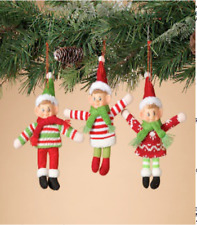 """GERSON 8"""" BENDABLE FABRIC PIXIE HOLIDAY OUTFIT ELF CHRISTMAS ORNAMENT SET OF 3"""