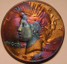 """1934 PEACE DOLLAR ( WOW ) TONED #17-535-188 RARE FIND"""""""""""""""""""