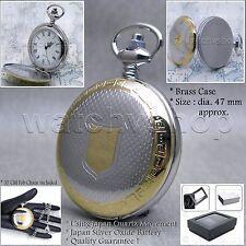 Silver Antique Pocket Watch Brass Case Quartz 47 MM Men Gift Chain Gift Box P56