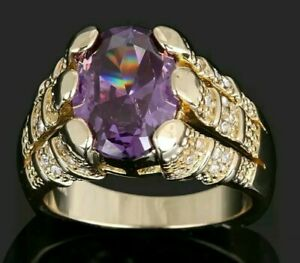 Purple Amethyst 18K Yellow Gold Filled Ring SIZES  9 /10 / 11/ 12  State size
