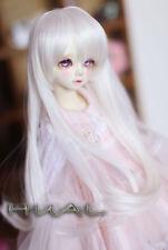 """6-7"""" 1/6 BJD Milk White Hair End Curl Long Wig LUTS Doll SD MSD Fairyland Soom"""