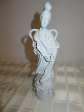 """Vintage Chinese Asian White Porcelain Lady Figurine 12"""" Sevis Asian-Crossed Mark"""