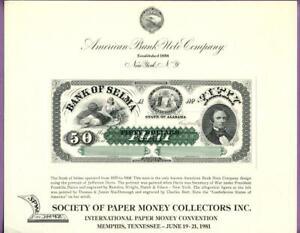 ABNC 1981 SPMC SO15 Souvenir Card $50 Bank of Selma AL Note Obv. Jefferson Davis