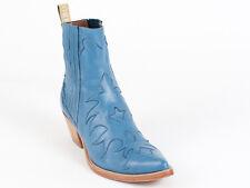 New  Sartore Paris Blue Cowboy Booties 34 US 4