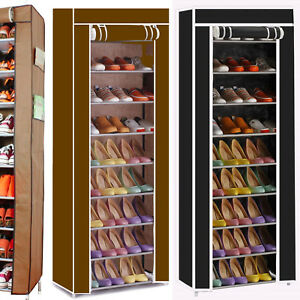 27 PAIRS 10 TIER DUSTPROOF SHOES CABINET STORAGE ORGANISER SHOE RACK STAND HOLDS