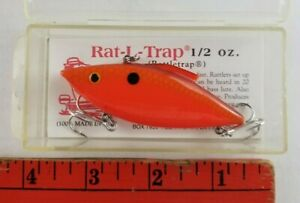 Vintage NEW Bill Lewis Rat L Trap Bright Orange 1/2 oz Crankbait Fishing Lure